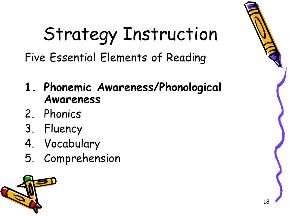 18 Strategy Instruction Five Essential Elements of Reading 1.Phonemic Awareness/Phonological Awareness 2.Phonics 3.Fluency 4.Vocabulary 5.Comprehension