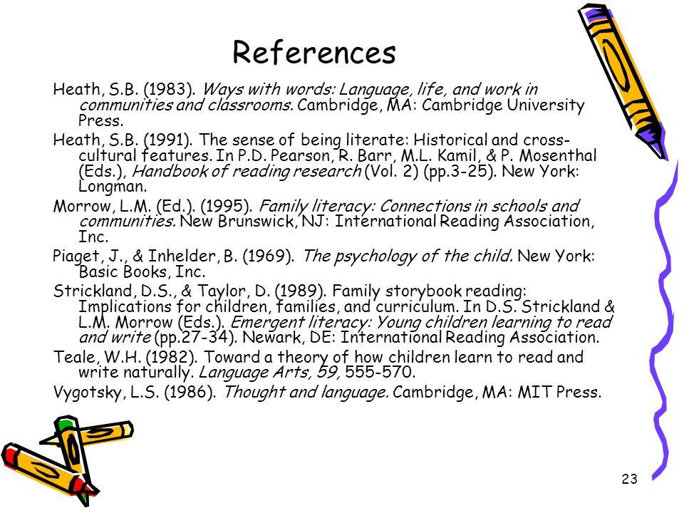 23 References Heath, S.B. (1983).