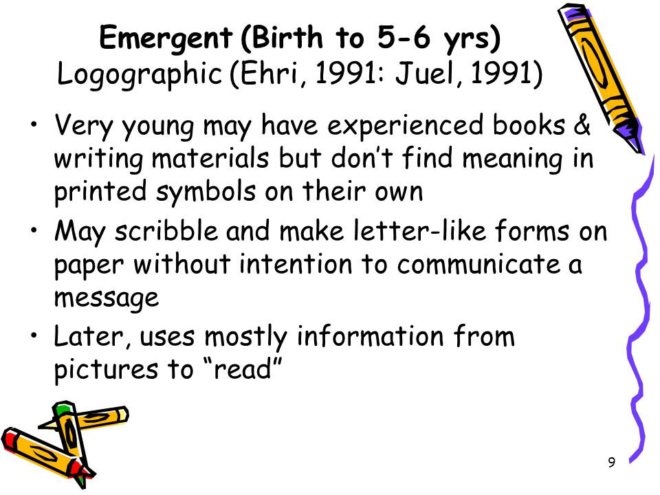 10 Emergent (Birth to 5-6 yrs) Logographic (Ehri, 1991: Juel, 1991) Begins to name & write some letters Becomes aware that printed texts convey messages Writes for purpose of communicating meaning, but reads & writes in unconventional ways Associates word(s) with picture clues Likes rhyme, repetition, alliteration, magic and personification; likes to hear their favorite stories repeated many times