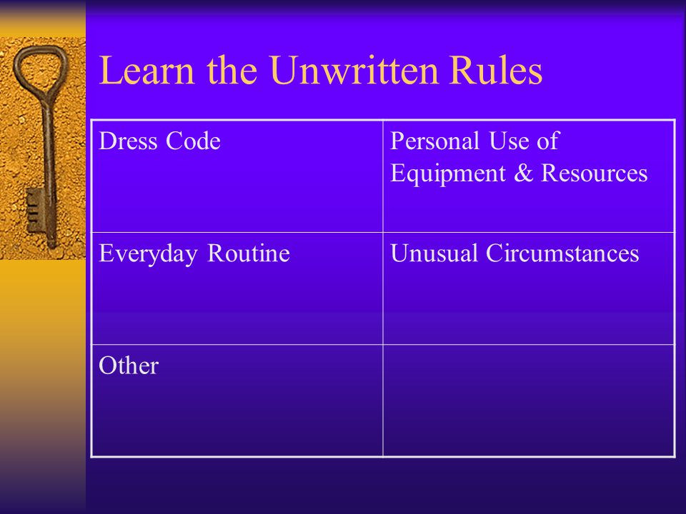 Learn the Unwritten Rules Dress CodePersonal Use of Equipment & Resources Everyday RoutineUnusual Circumstances Other