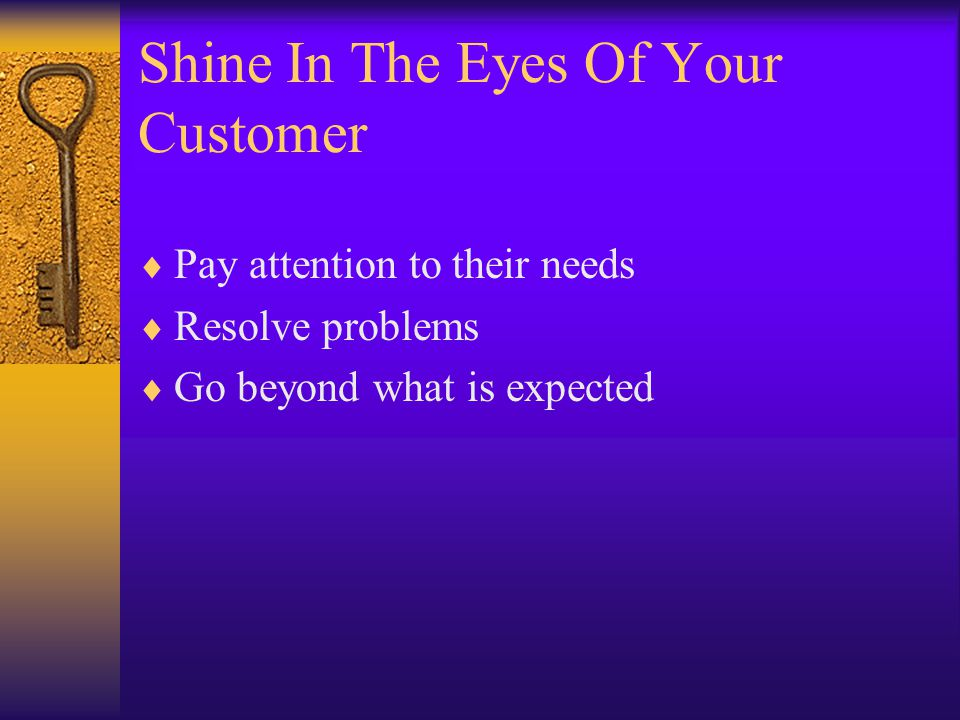 Shine In The Eyes Of Your Customer  Pay attention to their needs  Resolve problems  Go beyond what is expected