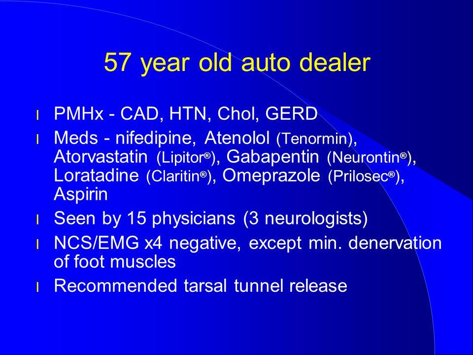 57 year old auto dealer l PMHx - CAD, HTN, Chol, GERD l Meds - nifedipine, Atenolol (Tenormin), Atorvastatin (Lipitor ® ), Gabapentin (Neurontin ® ),