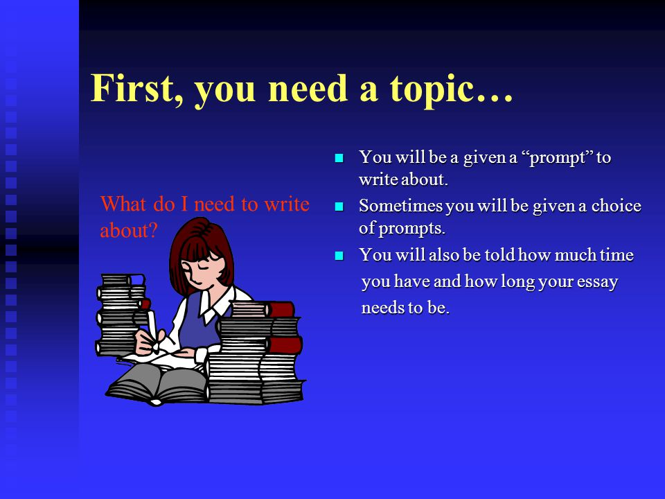 First, you need a topic… You will be a given a prompt to write about.