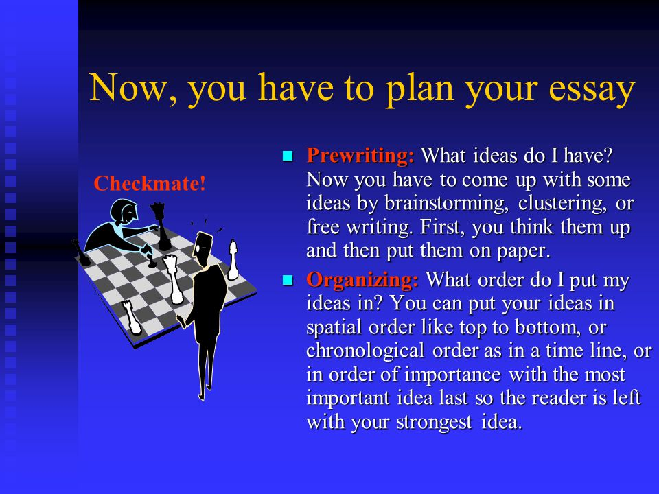 Now, you have to plan your essay Prewriting: What ideas do I have.