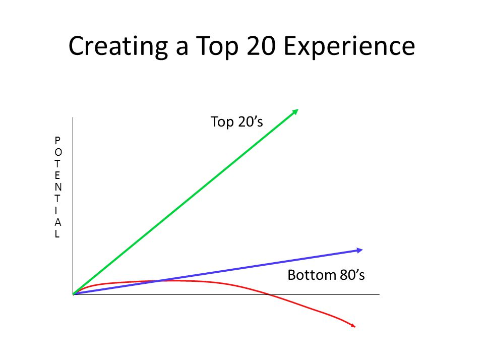 Creating a Top 20 Experience POTENTIALPOTENTIAL Bottom 80's Top 20's