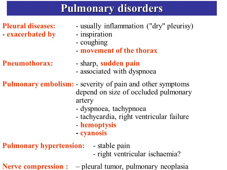 Pulmonary disorders Pleural diseases:- usually inflammation (