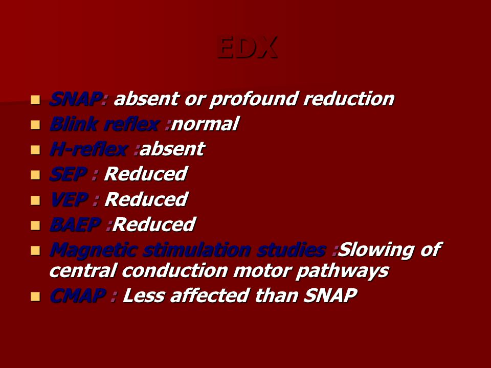 EDX SNAP: absent or profound reduction SNAP: absent or profound reduction Blink reflex :normal Blink reflex :normal H-reflex :absent H-reflex :absent
