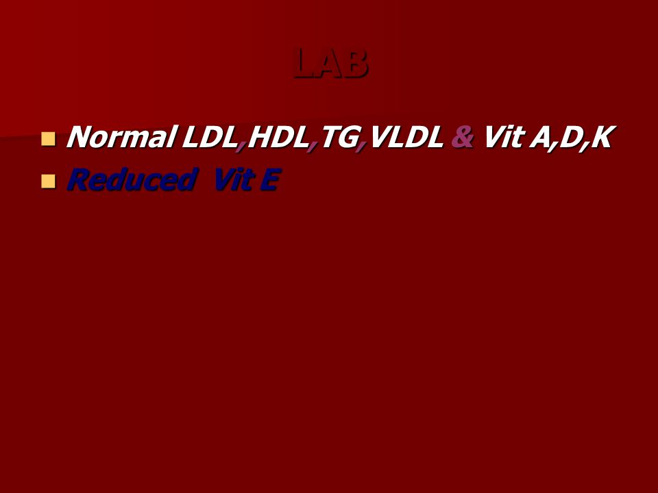 LAB Normal LDL,HDL,TG,VLDL & Vit A,D,K Normal LDL,HDL,TG,VLDL & Vit A,D,K Reduced Vit E Reduced Vit E