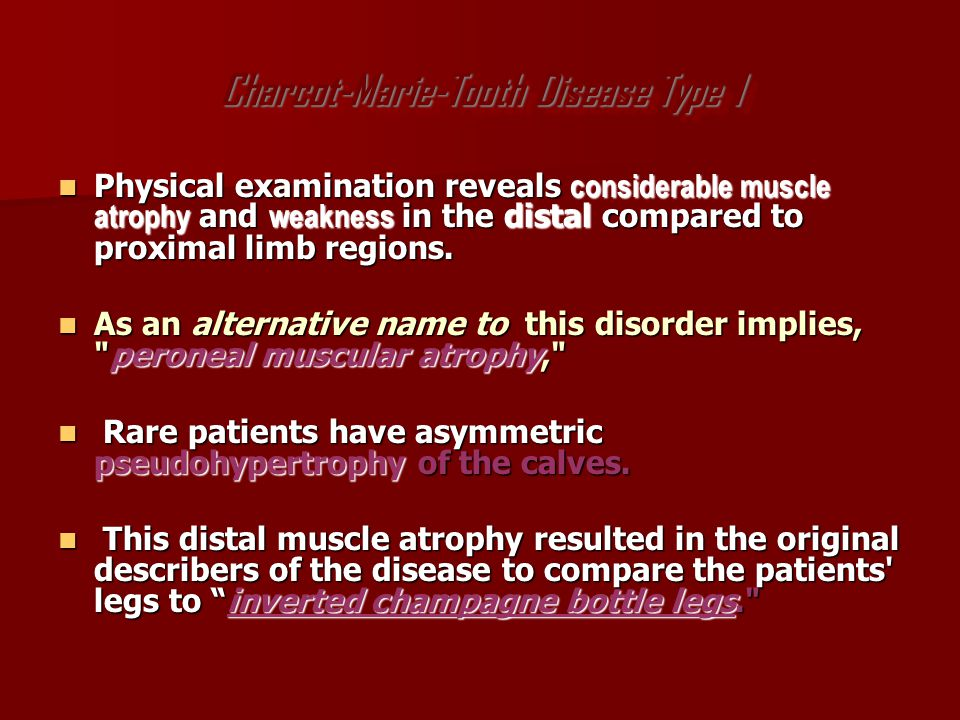 Intrinsic foot muscle wasting is also prominent.Intrinsic foot muscle wasting is also prominent.