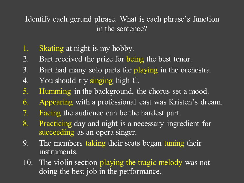 Identify each gerund phrase. What is each phrase's function in the sentence.