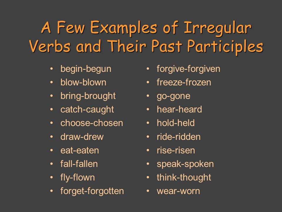 A Few Examples of Irregular Verbs and Their Past Participles begin-begun blow-blown bring-brought catch-caught choose-chosen draw-drew eat-eaten fall-fallen fly-flown forget-forgotten forgive-forgiven freeze-frozen go-gone hear-heard hold-held ride-ridden rise-risen speak-spoken think-thought wear-worn