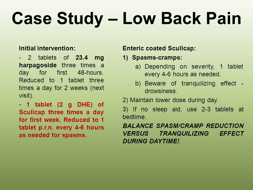 Case Study – Low Back Pain Second intervention: -Maintain 1 tablet 23.4 mg harpagoside three times a day for one month.