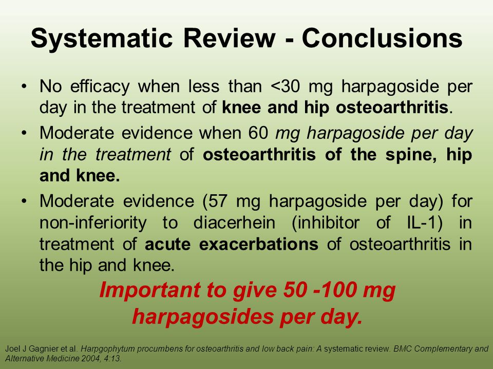 Systematic Review - Conclusions Moderate evidence for a daily dose of 100 mg harpagoside in the treatment of acute exacerbations of chronic non- specific low back pain.