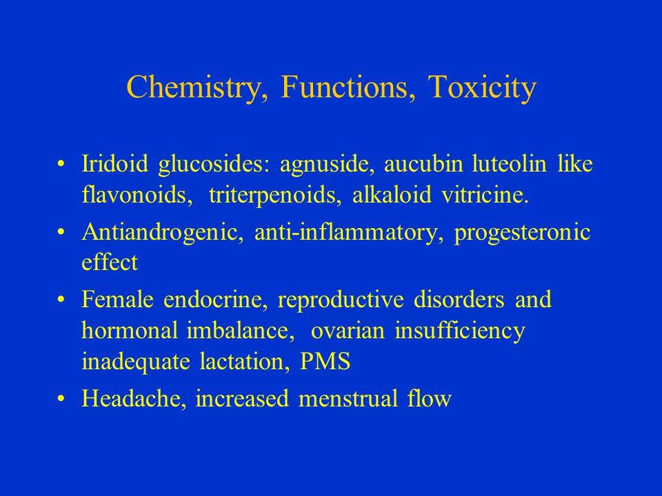 Chemistry, Functions, Toxicity Iridoid glucosides: agnuside, aucubin luteolin like flavonoids, triterpenoids, alkaloid vitricine.