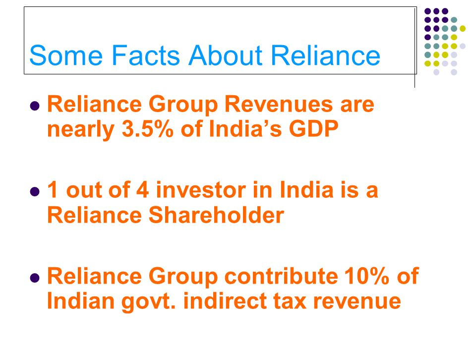 Some Facts About Reliance Reliance Group Revenues are nearly 3.5% of India's GDP 1 out of 4 investor in India is a Reliance Shareholder Reliance Group contribute 10% of Indian govt.