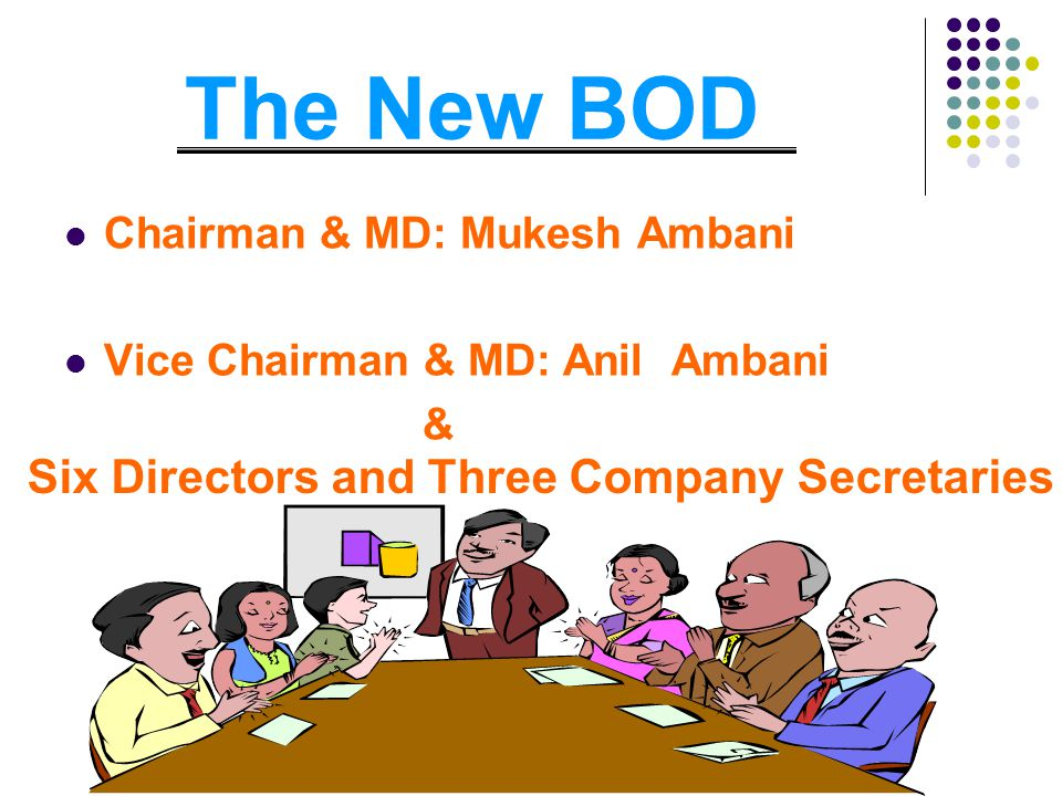 The New BOD Chairman & MD: Mukesh Ambani Vice Chairman & MD: Anil Ambani & Six Directors and Three Company Secretaries