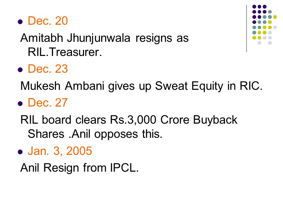 Dec. 20 Amitabh Jhunjunwala resigns as RIL.Treasurer.