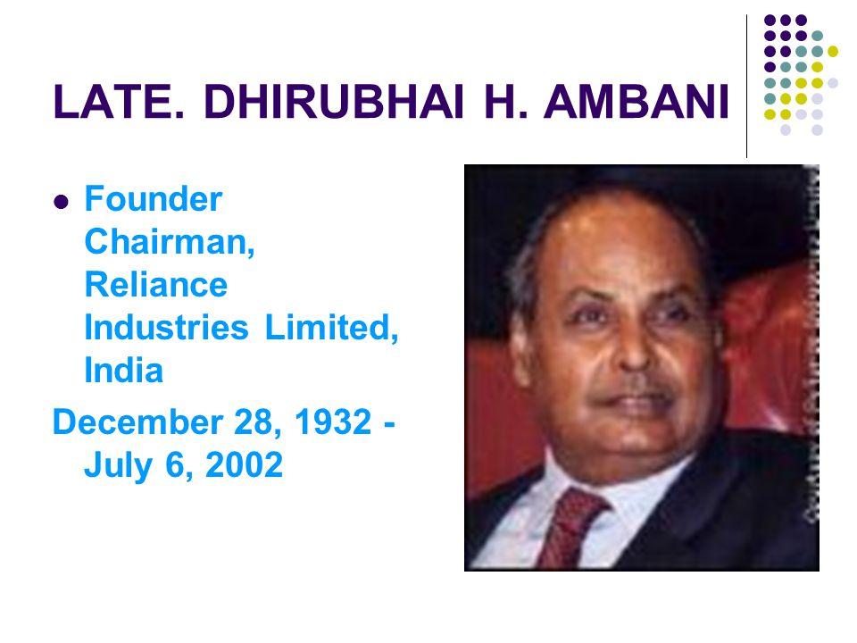 LATE. DHIRUBHAI H.