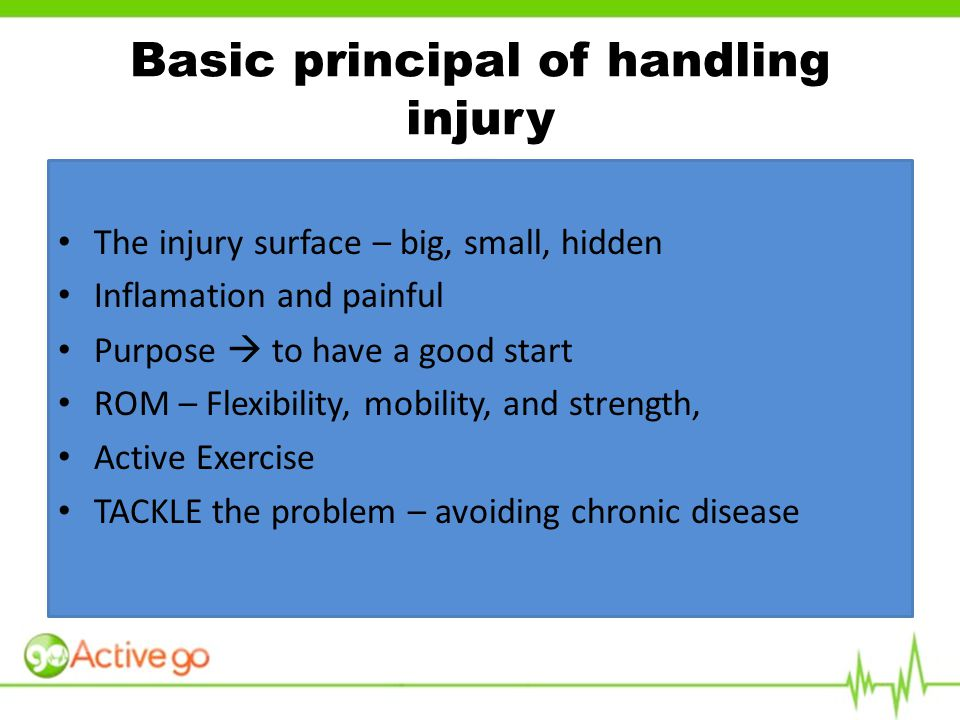 The injury surface – big, small, hidden Inflamation and painful Purpose  to have a good start ROM – Flexibility, mobility, and strength, Active Exercise TACKLE the problem – avoiding chronic disease Basic principal of handling injury