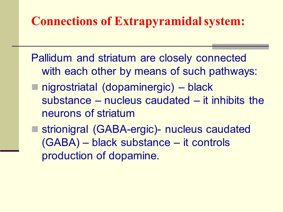 Connections of Extrapyramidal system: Pallidum and striatum are closely connected with each other by means of such pathways: nigrostriatal (dopaminerg