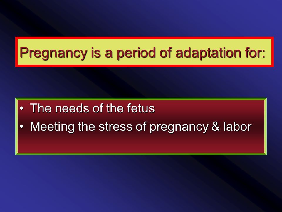 Pregnancy is a period of adaptation for: The needs of the fetusThe needs of the fetus Meeting the stress of pregnancy & laborMeeting the stress of pregnancy & labor