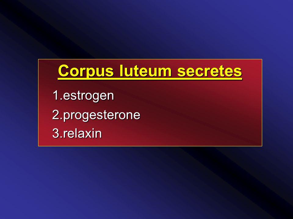 Corpus luteum secretes 1.estrogen 1.estrogen2.progesterone 3.relaxin 3.relaxin