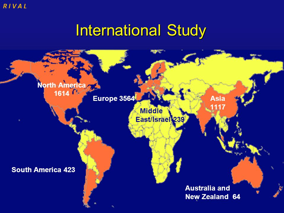 R I V A L International Study International Study Middle East/Israel 239 Australia and New Zealand 64 North America 1614 South America 423 Asia 1117 E
