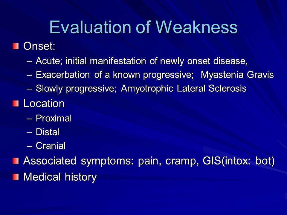 Evaluation of Weakness Onset: –Acute; initial manifestation of newly onset disease, –Exacerbation of a known progressive; Myastenia Gravis –Slowly pro