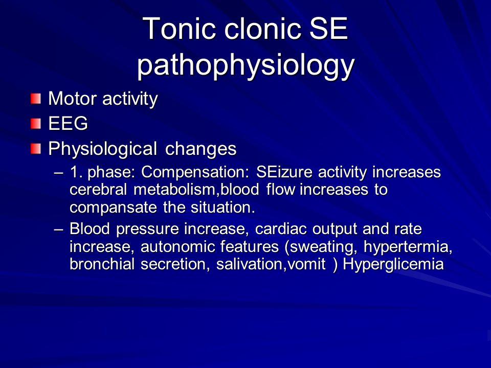 Tonic clonic SE pathophysiology Motor activity EEG Physiological changes –1.