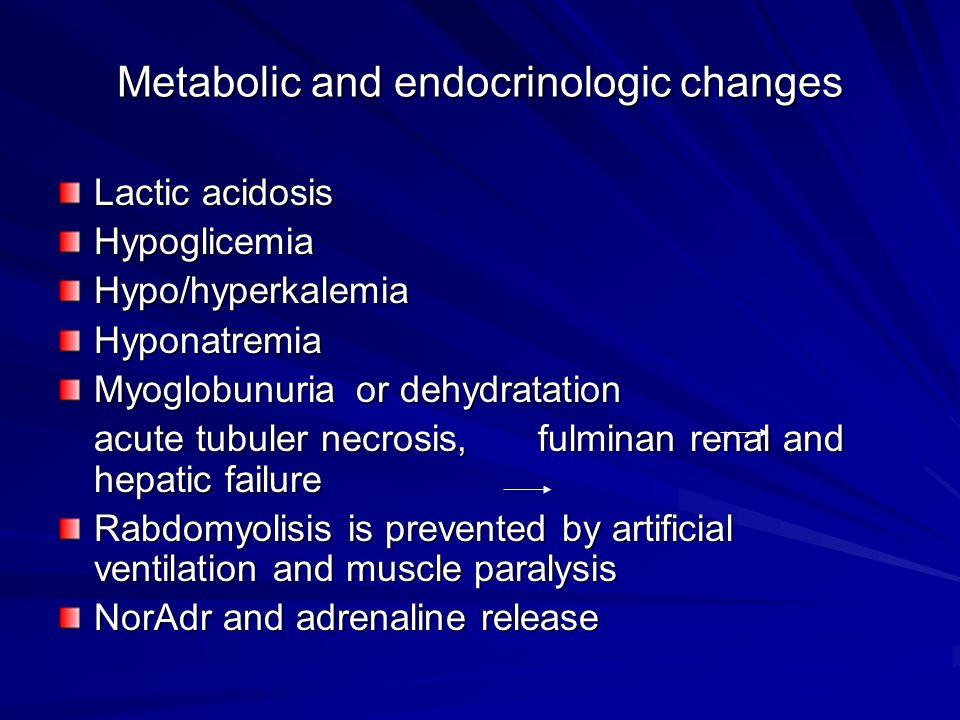 Metabolic and endocrinologic changes Lactic acidosis HypoglicemiaHypo/hyperkalemiaHyponatremia Myoglobunuria or dehydratation acute tubuler necrosis,