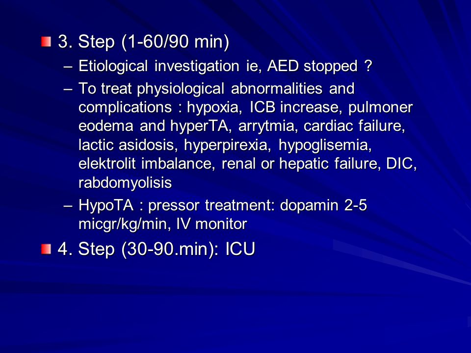3. Step (1-60/90 min) –Etiological investigation ie, AED stopped .