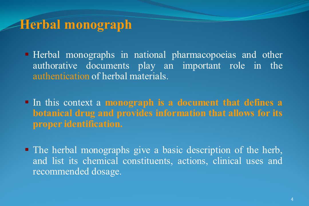 PURPOSE OF THE MONOGRAPHS PURPOSE OF THE MONOGRAPHS 5