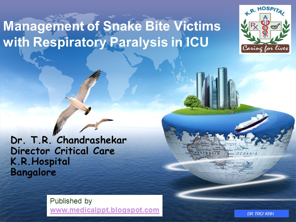 LOGO www.themegallery.com Management of Snake Bite Victims with Respiratory Paralysis in ICU Dr. T.R. Chandrashekar Director Critical Care K.R.Hospita
