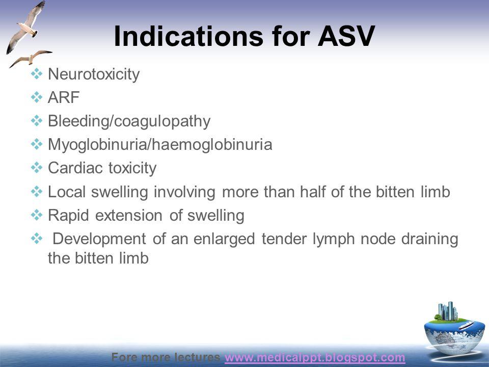 Fore more lectures www.medicalppt.blogspot.comwww.medicalppt.blogspot.com Indications for ASV  Neurotoxicity  ARF  Bleeding/coagulopathy  Myoglobi