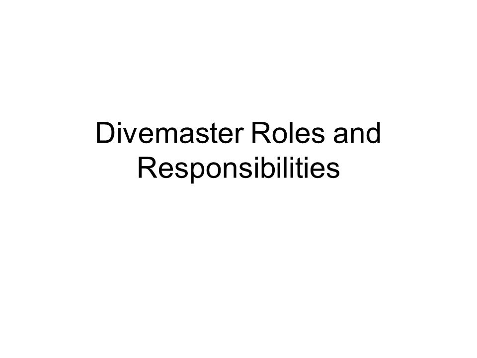 Divemaster/Instructor Relationship Divemaster/Student relationship Responsible for teaching –Skills demo must be teaching quality –Knowledge of scuba theory –Equipment knowledge and comfort Responsible for student safety Role model as a diver