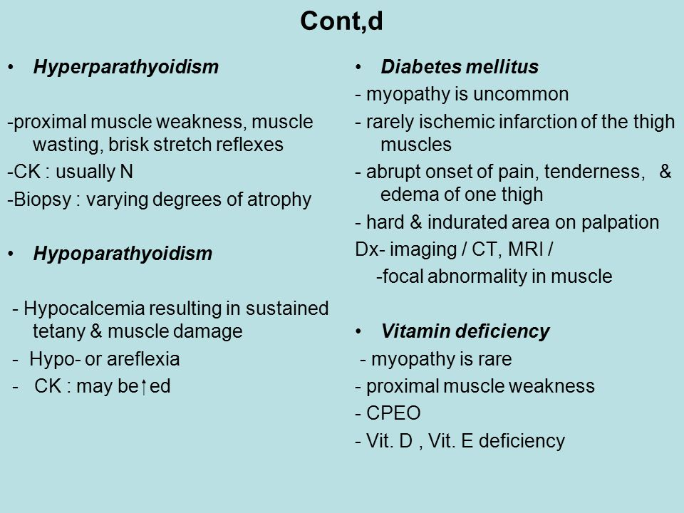 Cont,d Hyperparathyoidism -proximal muscle weakness, muscle wasting, brisk stretch reflexes -CK : usually N -Biopsy : varying degrees of atrophy Hypoparathyoidism - Hypocalcemia resulting in sustained tetany & muscle damage - Hypo- or areflexia - CK : may be  ed Diabetes mellitus - myopathy is uncommon - rarely ischemic infarction of the thigh muscles - abrupt onset of pain, tenderness, & edema of one thigh - hard & indurated area on palpation Dx- imaging / CT, MRI / -focal abnormality in muscle Vitamin deficiency - myopathy is rare - proximal muscle weakness - CPEO - Vit.