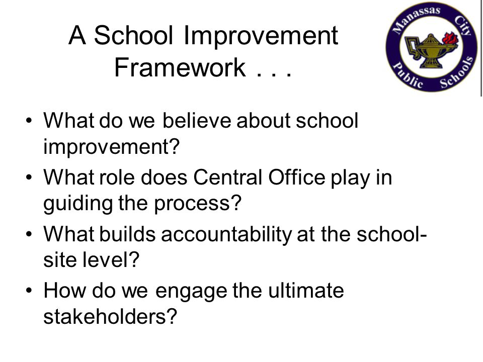 A School Improvement Framework... What do we believe about school improvement? What role does Central Office play in guiding the process? What builds