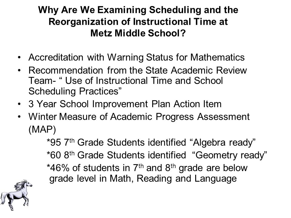 Why Are We Examining Scheduling and the Reorganization of Instructional Time at Metz Middle School? Accreditation with Warning Status for Mathematics