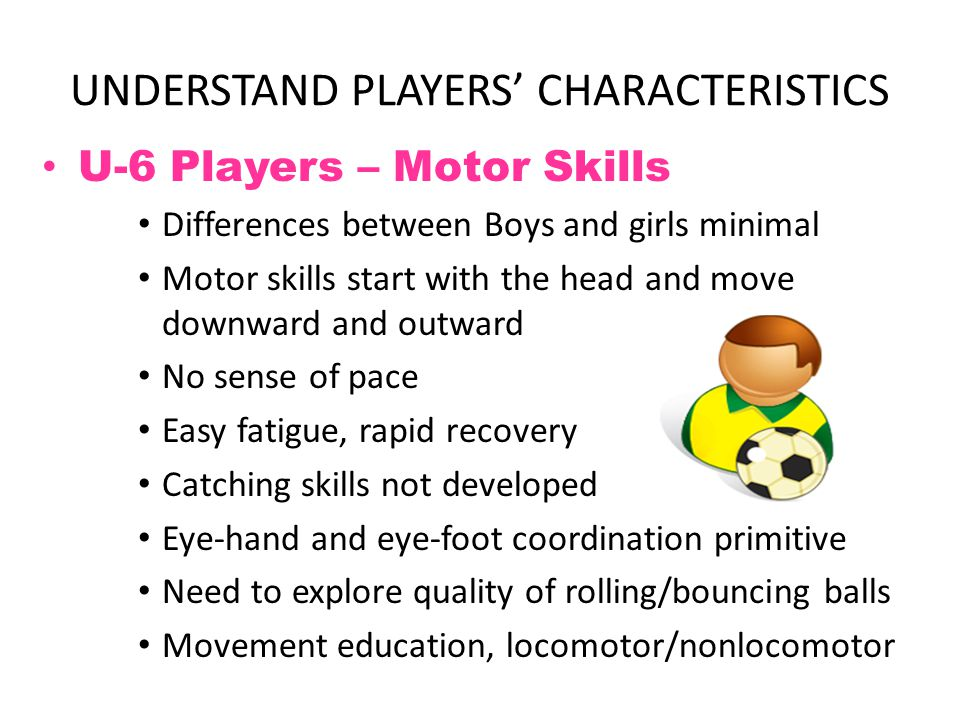 UNDERSTAND PLAYERS' CHARACTERISTICS U-6 Players – Cognitive Skills Short attention span Play consists of high degree of imagination/pretend Illogical thinking Constantly in motion.