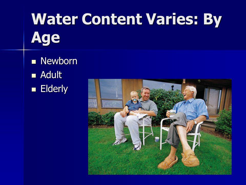 Water Content Varies: By Age Newborn Newborn Adult Adult Elderly Elderly