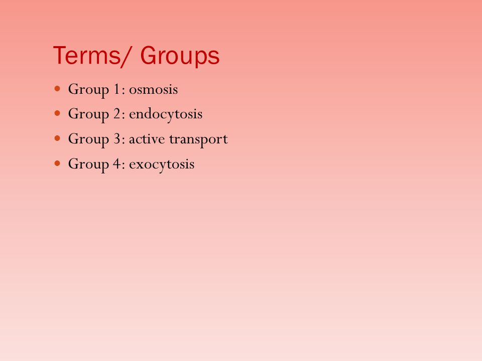 Terms/ Groups Group 1: osmosis Group 2: endocytosis Group 3: active transport Group 4: exocytosis