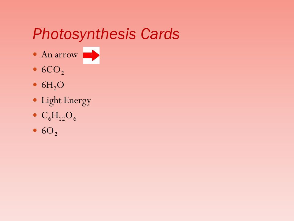 An arrow 6CO 2 6H 2 O Light Energy C 6 H 12 O 6 6O 2 Photosynthesis Cards