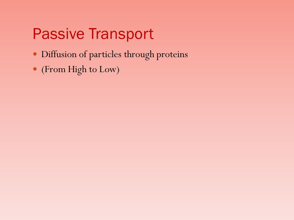 Passive Transport Diffusion of particles through proteins (From High to Low)