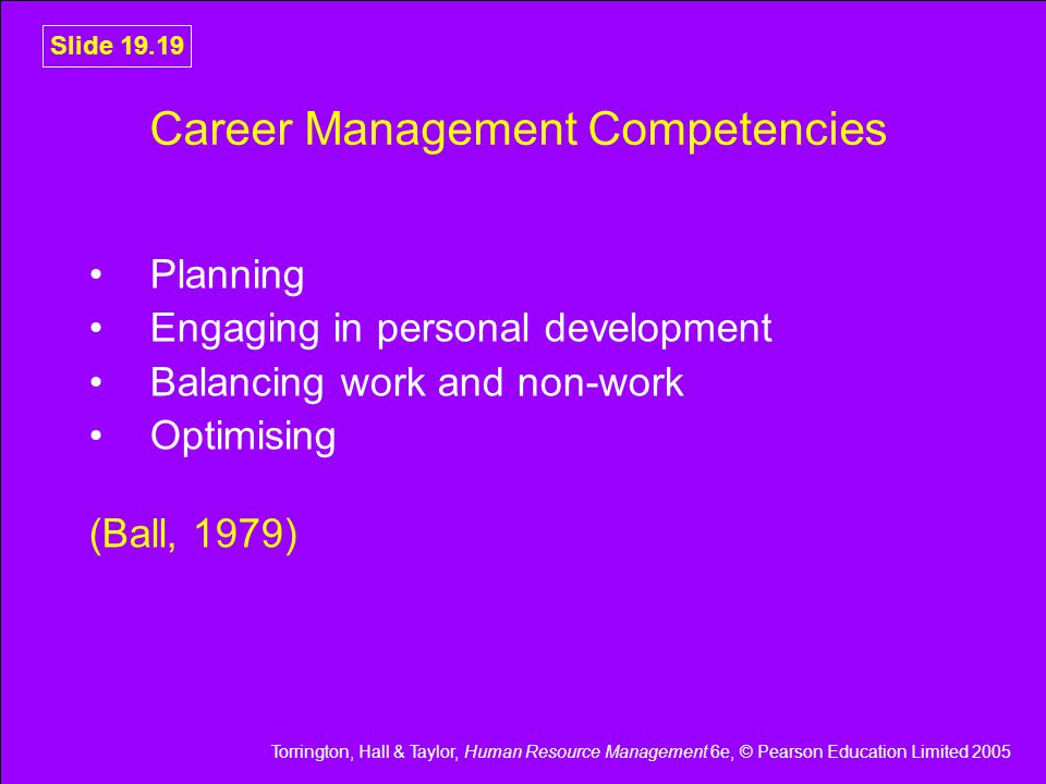 Torrington, Hall & Taylor, Human Resource Management 6e, © Pearson Education Limited 2005 Slide 19.19 Career Management Competencies Planning Engaging in personal development Balancing work and non-work Optimising (Ball, 1979)