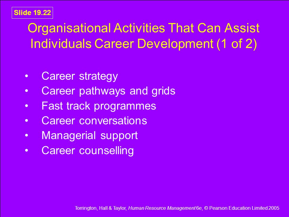 Torrington, Hall & Taylor, Human Resource Management 6e, © Pearson Education Limited 2005 Slide 19.22 Organisational Activities That Can Assist Individuals Career Development (1 of 2) Career strategy Career pathways and grids Fast track programmes Career conversations Managerial support Career counselling