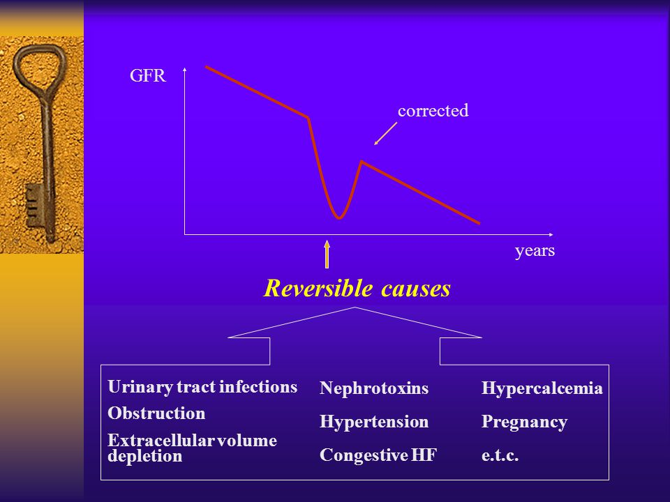 GFR years Reversible causes corrected Urinary tract infections Obstruction Extracellular volume depletion Nephrotoxins Hypertension Congestive HF Hypercalcemia Pregnancy e.t.c.
