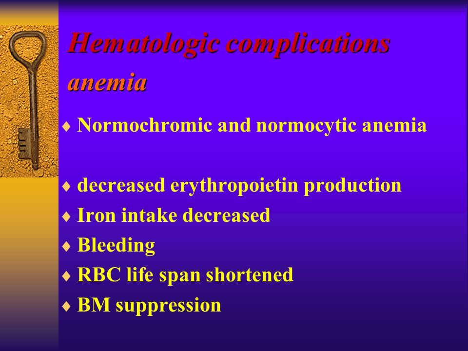  Normochromic and normocytic anemia  decreased erythropoietin production  Iron intake decreased  Bleeding  RBC life span shortened  BM suppression Hematologic complications anemia