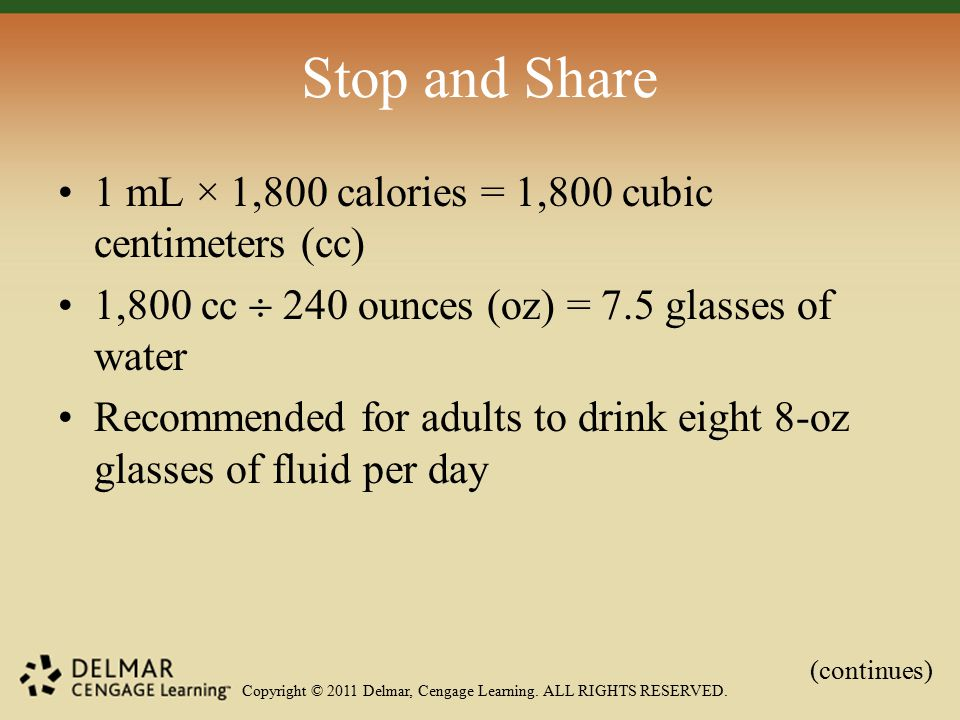 Copyright © 2011 Delmar, Cengage Learning. ALL RIGHTS RESERVED. Stop and Share 1 mL × 1,800 calories = 1,800 cubic centimeters (cc) 1,800 cc  240 oun