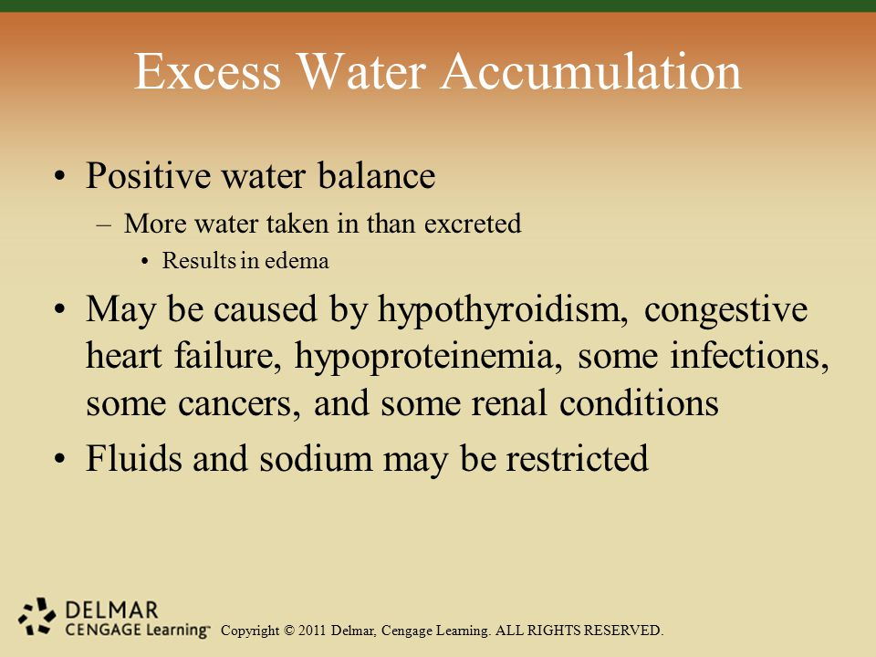 Copyright © 2011 Delmar, Cengage Learning. ALL RIGHTS RESERVED. Excess Water Accumulation Positive water balance –More water taken in than excreted Re