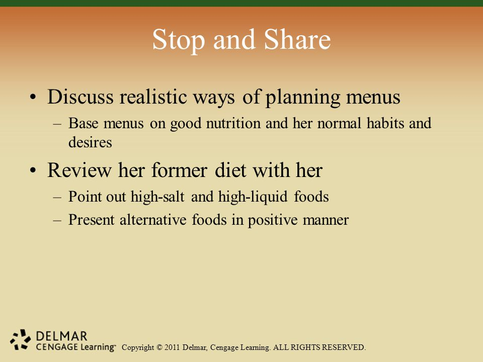 Copyright © 2011 Delmar, Cengage Learning. ALL RIGHTS RESERVED. Stop and Share Discuss realistic ways of planning menus –Base menus on good nutrition